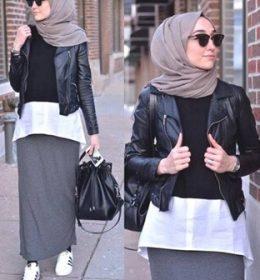 stylis hijab dan tas kulit